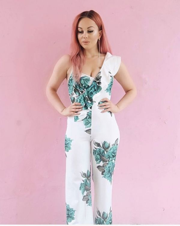 Vanessa Floral Print Ruffle Jumpsuit In Green