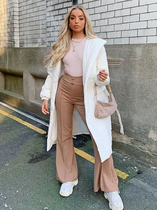 Kayla Button Front High Waist Trousers In Camel