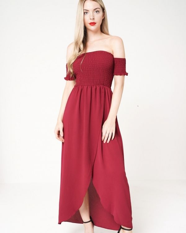 Victoria Wrap Front Shirred Maxi Dress In Wine