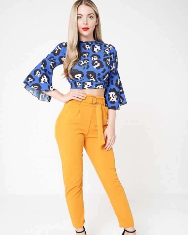 Aubree Buckle Belt Trousers In Mustard