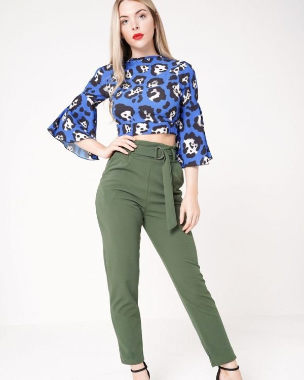 Aubree Buckle Belt Trousers In Khaki