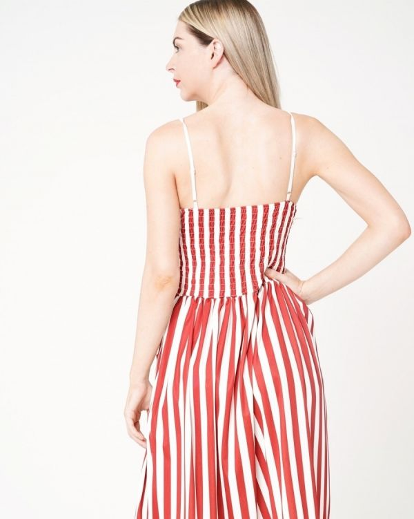 Enika Striped & Buttoned Cami Dress In Wine