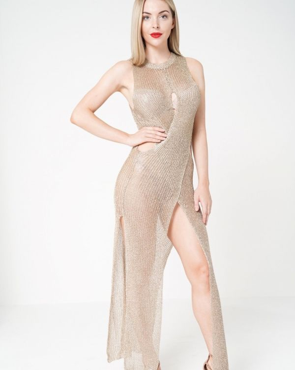 Joleana Wrap & Cut Knitted Maxi Dress In Metallic Gold