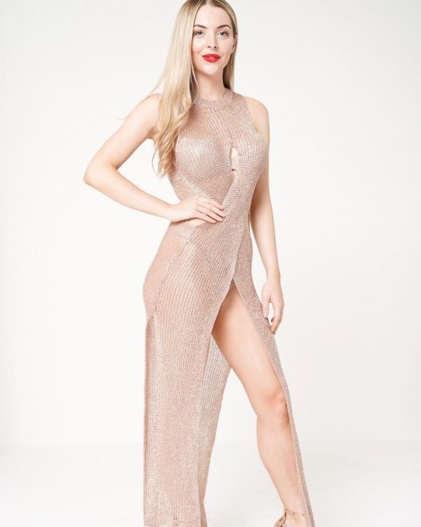 Joleana Wrap & Cut Knitted Maxi Dress In Metallic Rose