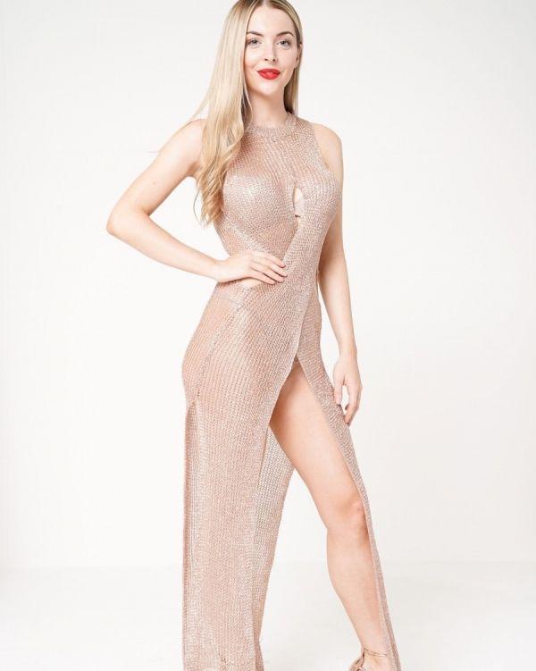 Joleana Wrap & Cut Knitted Maxi Dress In Metallic Rose