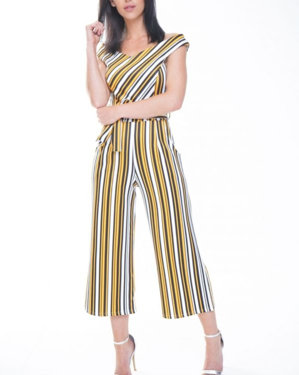 Adalynn Striped Bardot Culotte Jumpsuit In Orange