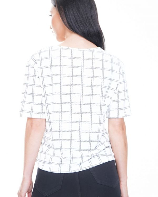 Sara Button Front Grid Check Top In White