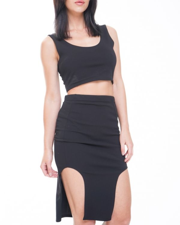 Brianna Split Front Skirt And Crop Top Co-ord In Black
