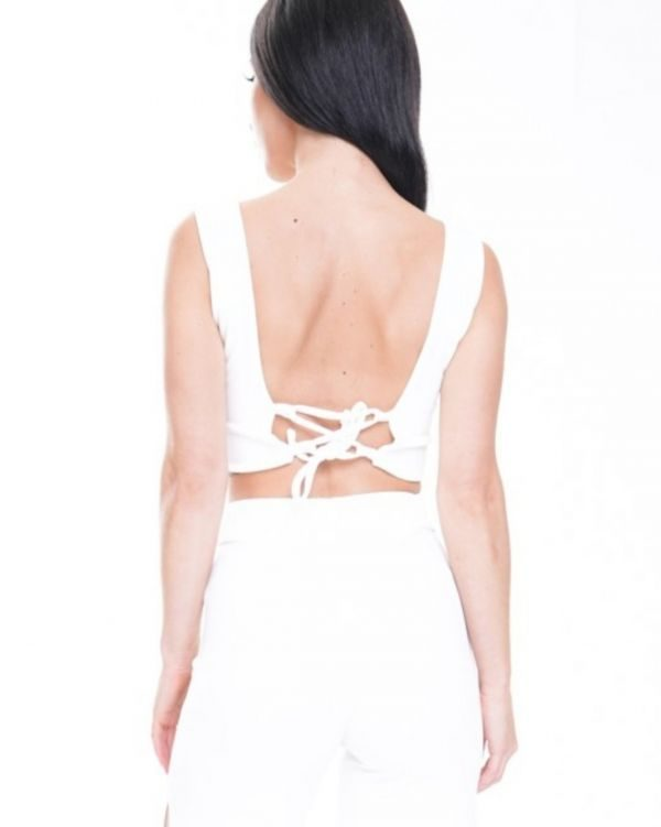 Leia Lace Up Fasten Bow Front Crop Top In White