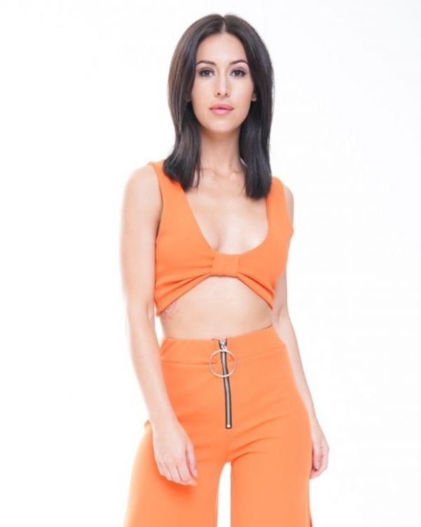Leia Lace Up Fasten Bow Front Crop Top In Orange