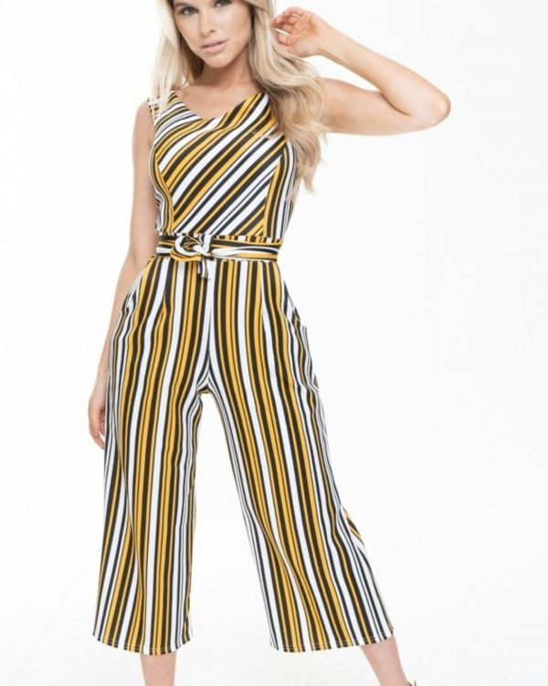 Liliana Striped Bardot Culotte Jumpsuit In Orange