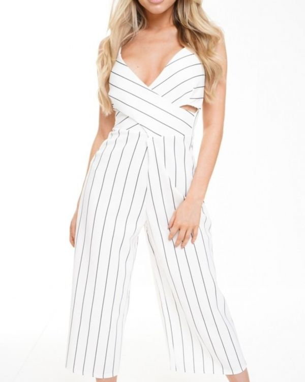 Amara Wrap Front Striped Culotte Jumpsuit In White