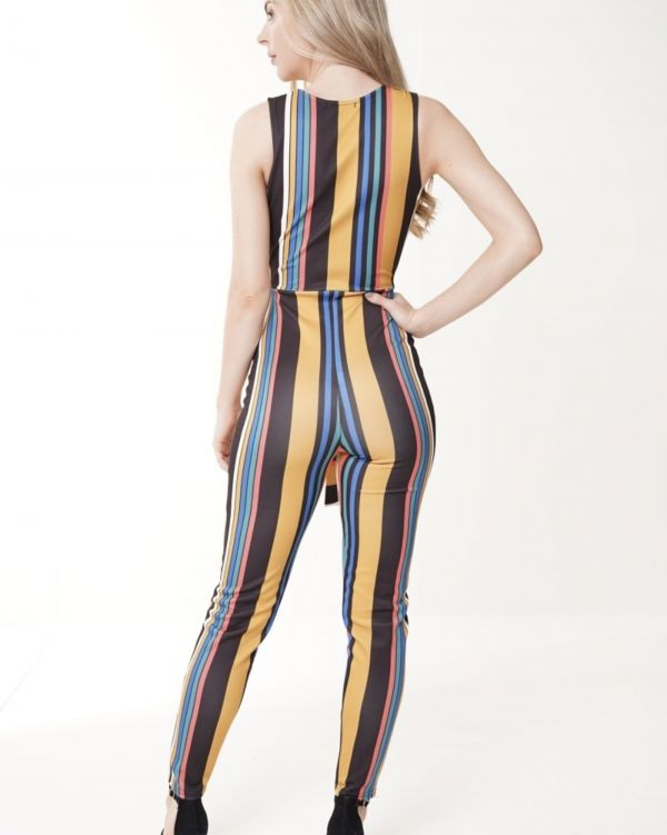 Milli Wrap Front Striped Jumpsuit In Mustard