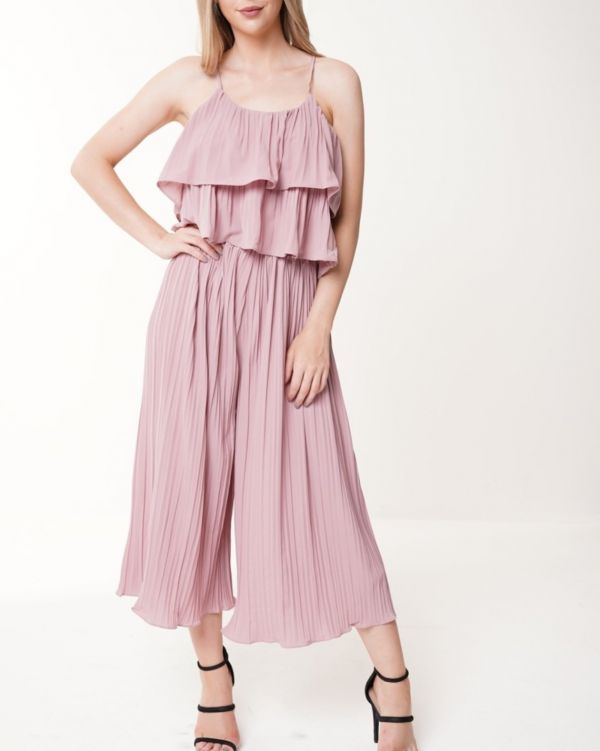 Camilla Pleated Frill Cami Top & Trouser Co-ord In Rose Gold