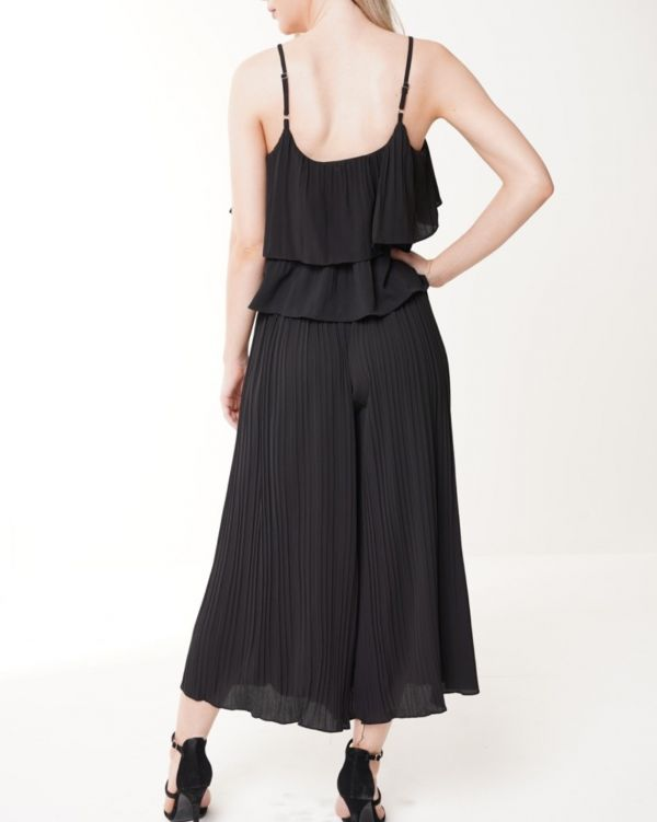 Camilla Pleated Frill Cami Top & Trouser Co-ord In Black