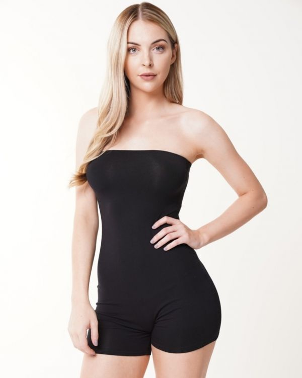 Ashlynn Bandeau Cycling Playsuit In Black