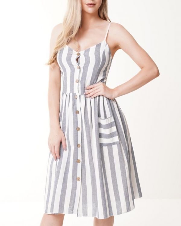 Kenzie Striped Button Front Cami Dress In Grey