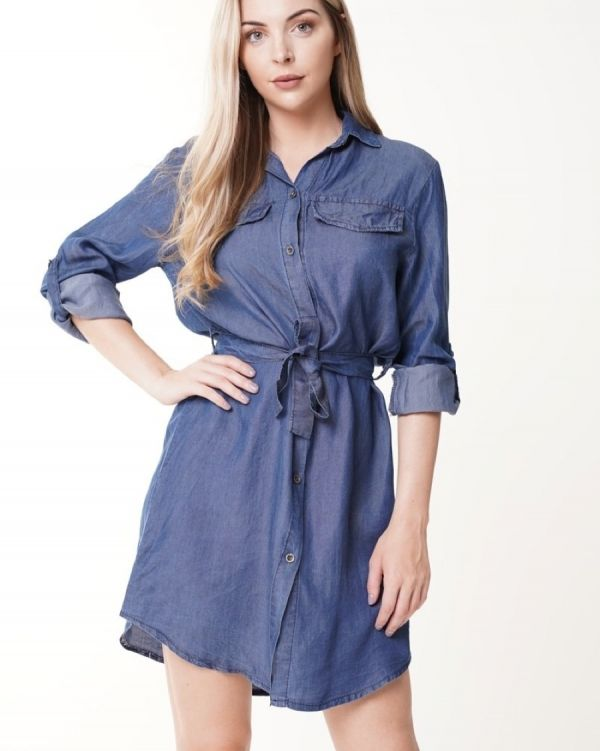 Samina Denim Shirt Dress In Blue