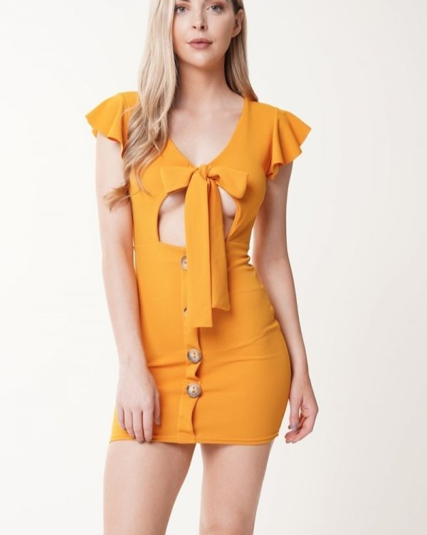 Alyssa Button Detail Knot Front Dress In Mustard