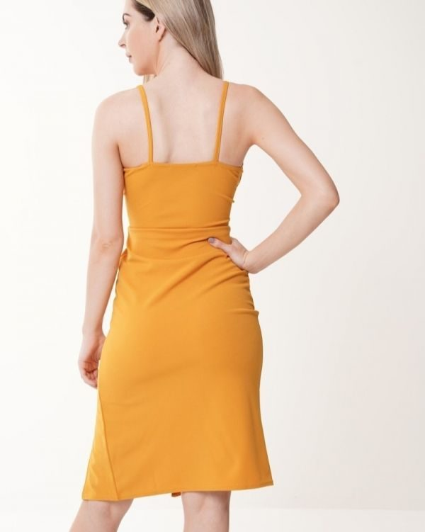 Eyala Mock Button Wrap Front Cami Dress In Mustard