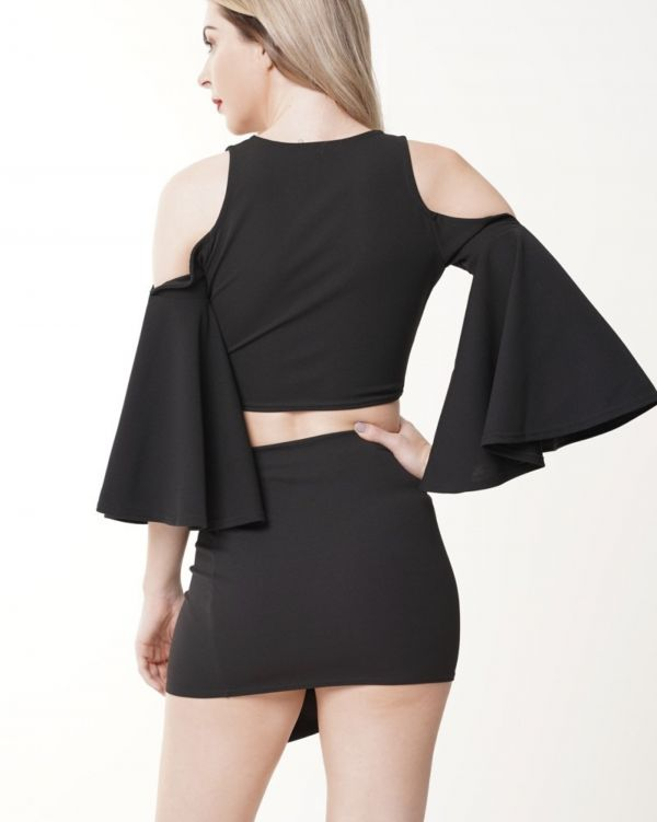 Jessique Wrap Front Cold Should Crop Top In Black