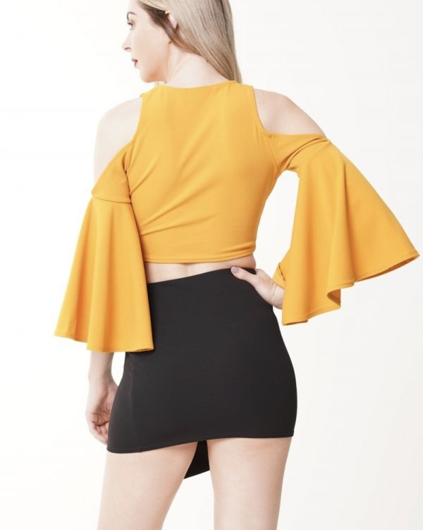 Jessique Wrap Front Cold Should Crop Top In Mustard