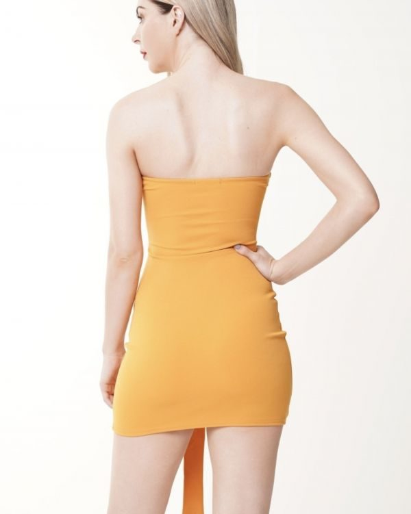 Breena Keyhole Knot Front Bandeau Dress In Mustard