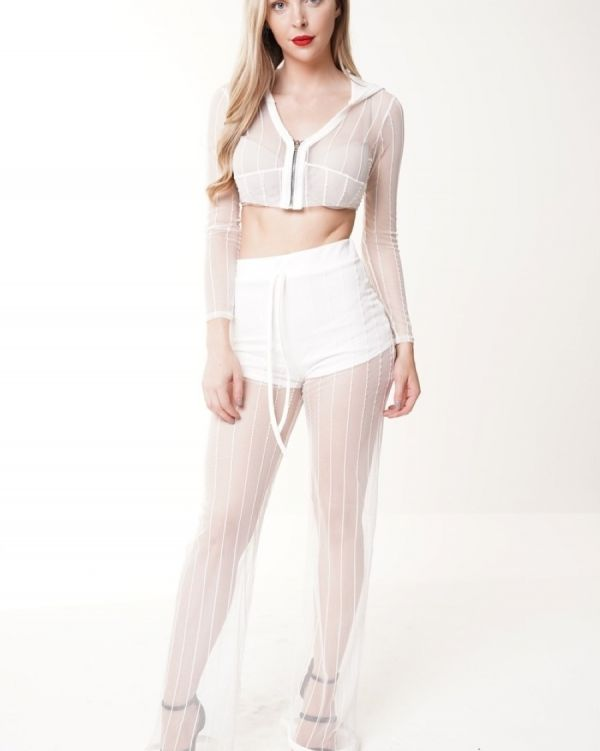 Auberry Sheer Mesh Hooded Crop Top And Trouser Set In Cream