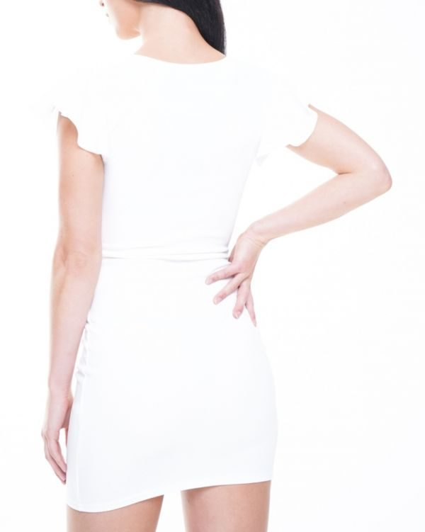 **Limited Edition** Alyssa Button Detail Knot Front Dress In White