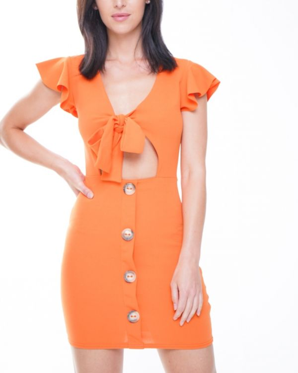 Alyssa Button Detail Knot Front Dress In Orange