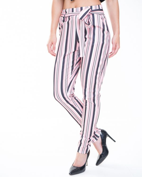 Arabella Striped Cigarette Fit Trousers With Belt In Pink