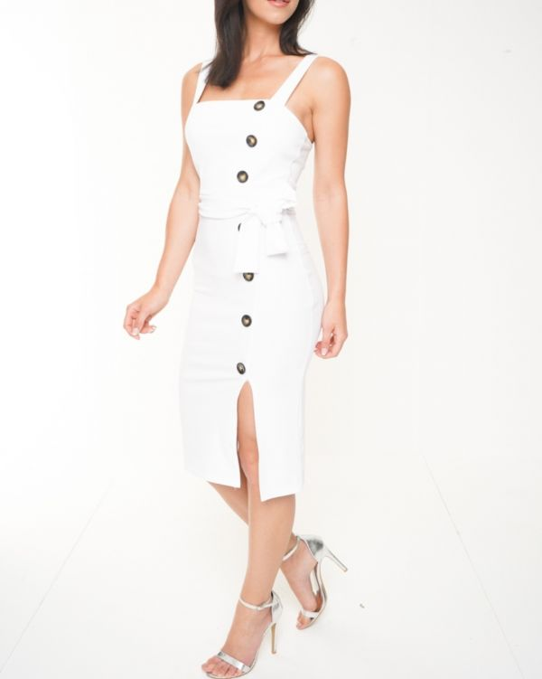 **Back In Stock** Tessa Button Detail Belted Midi Dress In White