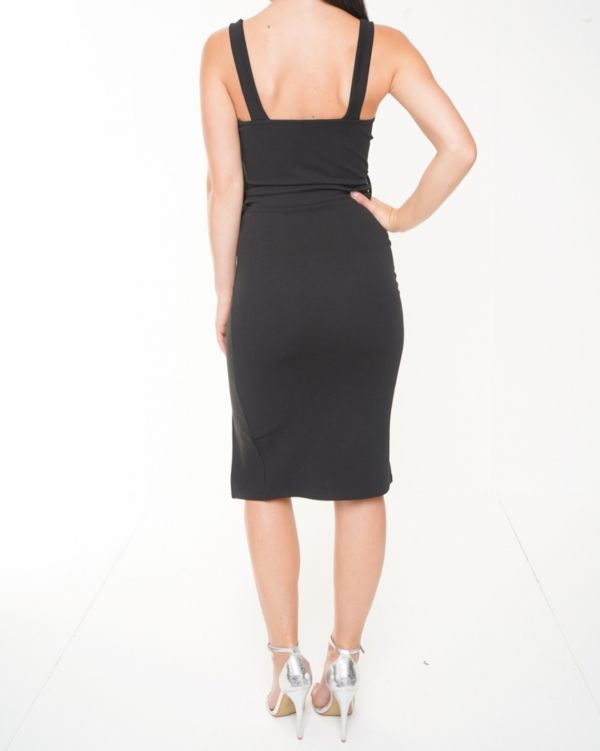**Olivia Buckland** Tessa Button Detail Belted Midi Dress In Black