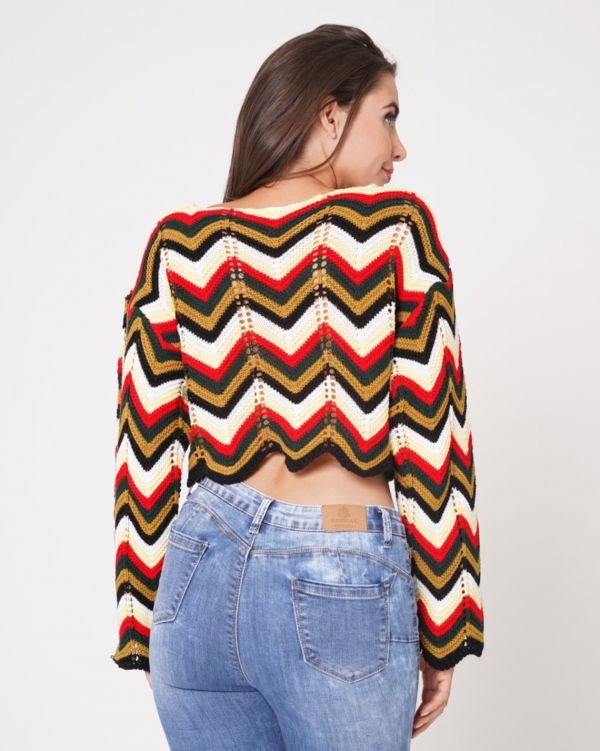 Jazlyn Multi Coloured Cropped Knitted Jumper In Red