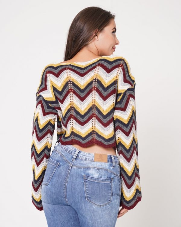 Jazlyn Multi Coloured Cropped Knitted Jumper In Wine