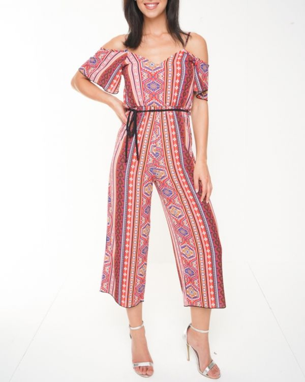 Catalina Paisley Print Cold Shoulder Culotte Jumpsuit In Red