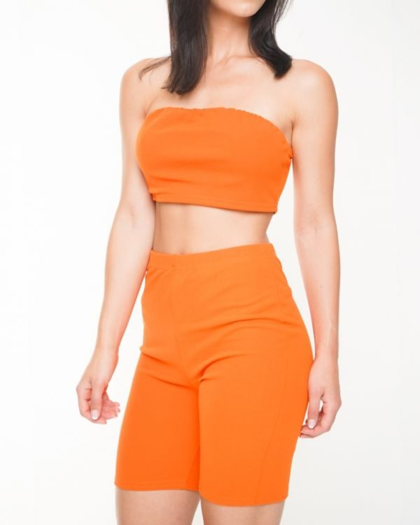 Lola Bandeau Crop Top & Cycling Shorts Co-ord In Orange