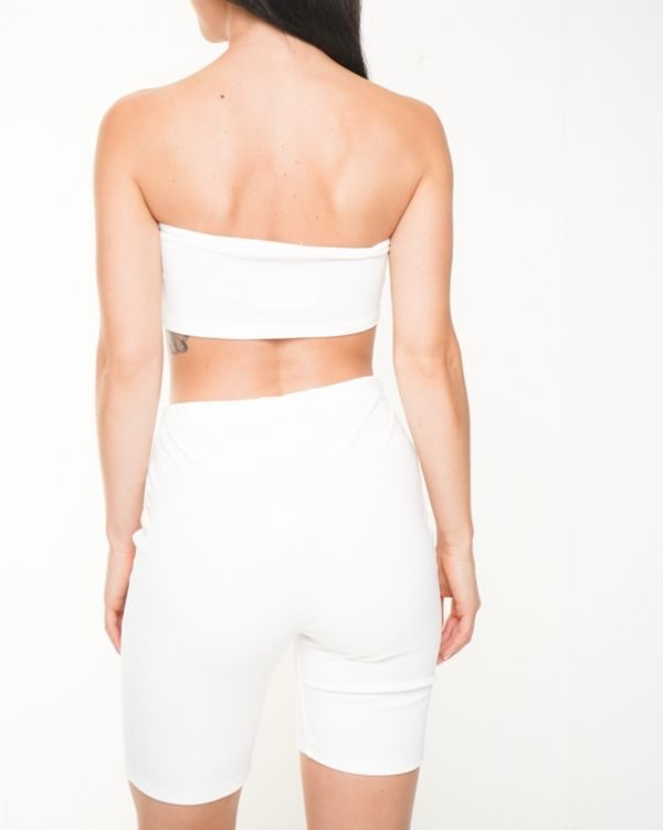 Lola Bandeau Crop Top & Cycling Shorts Co-ord In White