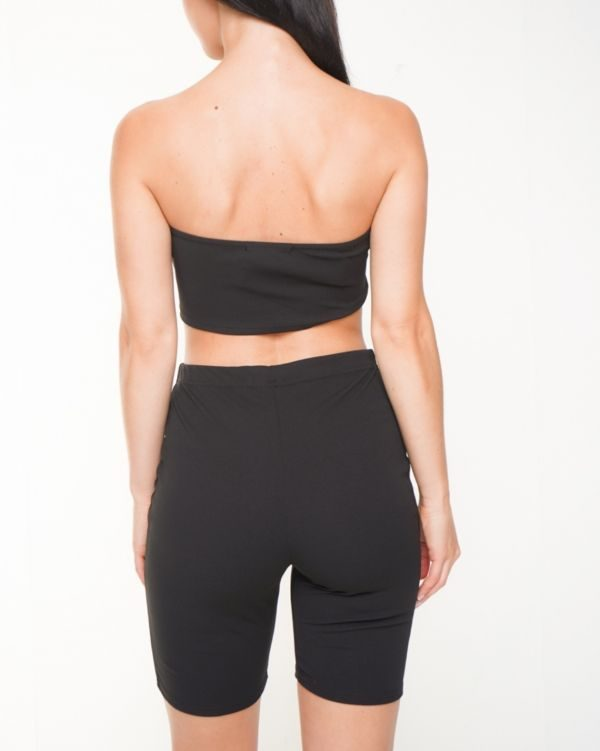 Lola Bandeau Crop Top & Cycling Shorts Co-ord In Black