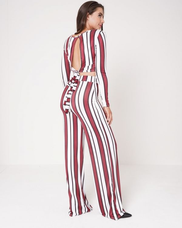 **Olivia Buckland** Miranda Striped Crop Top & Wide Leg Trouser Set In Wine
