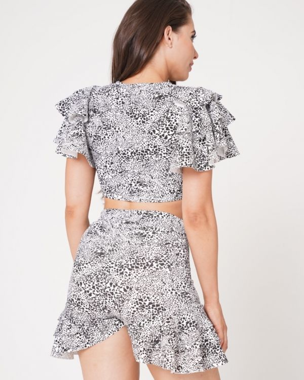 Ariyah Dalmatian Print Frill Detail Co-ord In White