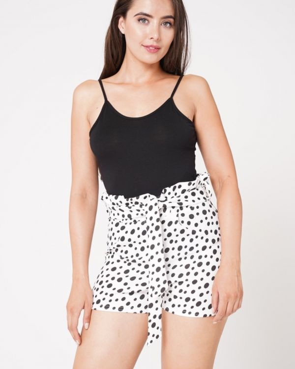 Janelle Dalmatian Print Paper Bag Belted Shorts In White