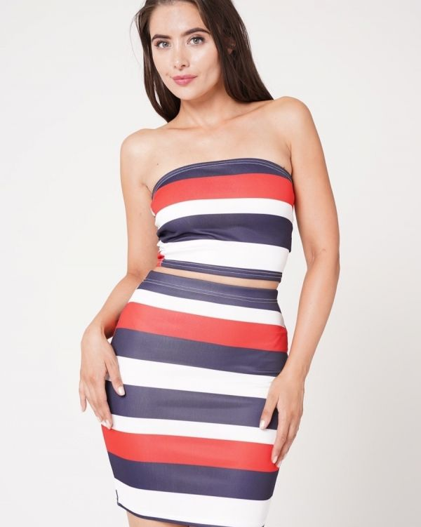 Ola Striped Crop Top & Skirt Co-Ord Set In Red & Navy