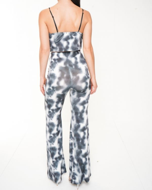Thea Tie Dye Crop Top And Trouser Co-ord In Grey