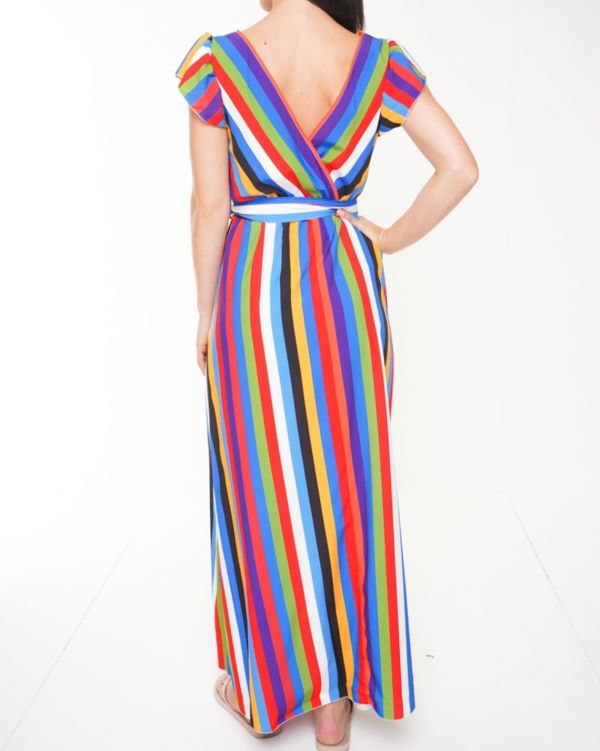 Dakota Wrap Front Rainbow Stripe Maxi Dress In Multi