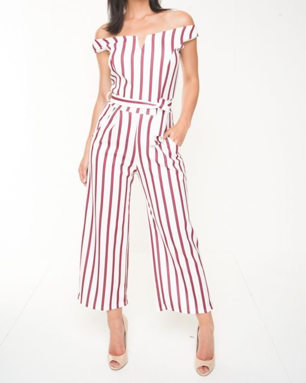 Alayna V-Bar Striped Bardot Culotte Jumpsuit In Red