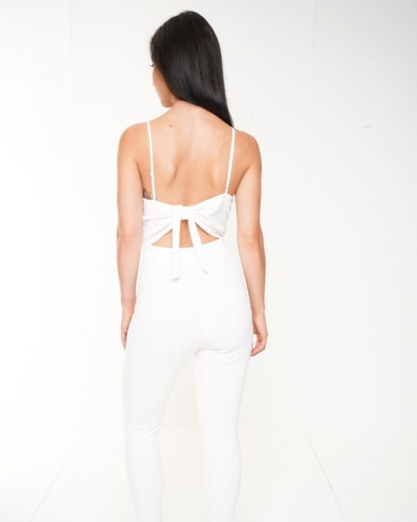 Jocelyn Twist Front Tie Knot Back Cami Jumpsuit In White