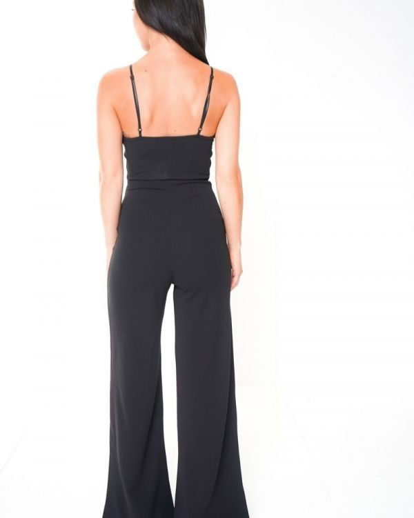 Ariella Cut Out Knot Front Cami Jumpsuit In Black