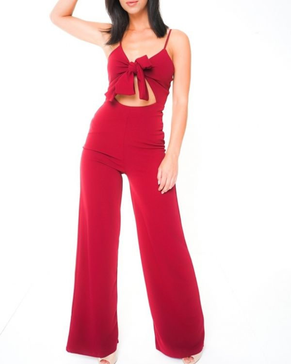 Ariella Cut Out Knot Front Cami Jumpsuit In Wine