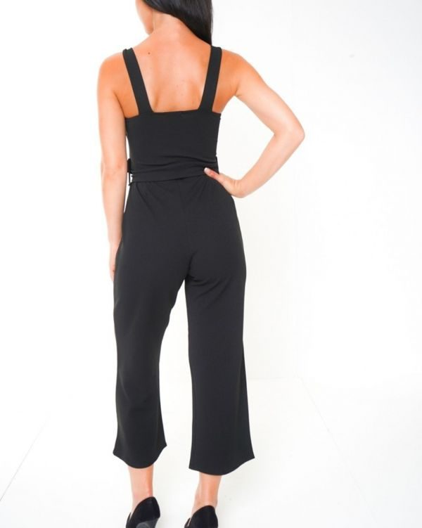 Alani Mock Button Detail Belted Culotte Jumpsuit In Black